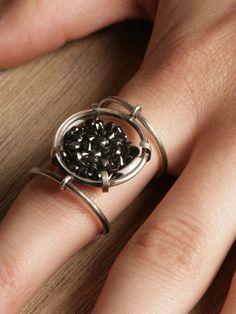 #AnnDemeulemeester women's medallion small stars ring, $2493.20...5 carat black Antwerp diamonds, NBD!