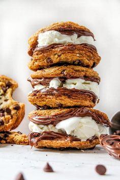 Vegan salted chocolate chip, hazelnut ice cream sandwiches