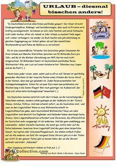 Urlaub - diesmal bisschen anders German Grammar, German Words, Deutsch Language, Study German, German Language Learning, Reading Comprehension, Teaching Resources, Improve Yourself, Germany