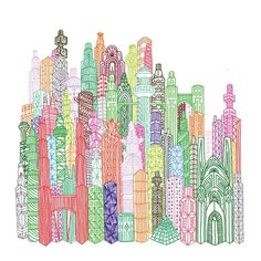 Line-art city. Interesting use of lines to create buildings combined with beautiful color. Mrs C