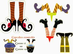Witchs: Free Printable Cupcake Toppers and Cup Markers.