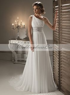 Chic Sleeveless A-line Floor-length bridal gown. WOW