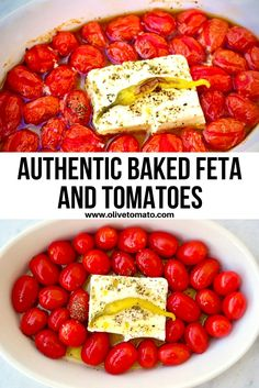 For this traditional recipe you bake feta, along with tomatoes, a hot pepper and olive oil until everything becomes soft and melty. Then we serve it as an appetizer with some fresh bread for dipping. Or mix it with pasta for a main course. #feta #fetapasta #Bakedfeta #tomato #easyrecipe #greekfood #mediterraneandiet #mediterraneanfood Greek Recipes, Light Recipes, Veggie Recipes, Yummy Recipes, Mediterranean Diet Cookbook, Mediterranean Dishes, Greek Appetizers, Appetizer Recipes, Baked Feta Recipe