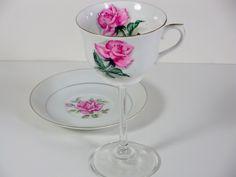 Vintage tea cup wine glass wedding wine glass repurposed upcycled. $28.00, via Etsy.