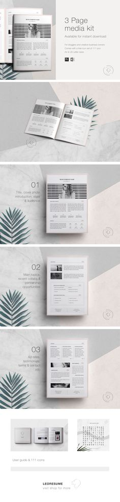 Media Kit Template and Ad Rate Sheet Media Kit Template, Branding Kit, Press Kit, Editorial Design, Digital Marketing, Blogging, Photoshop, Social Media