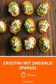 Crostini mit zweierlei Spargel: sieht das nicht gut aus? Leichte und gesunde Häppchen für schöne Anlässe!