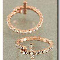Rose Gold Cross Crystal Ring