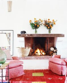 Kathryn Ireland Opens Up About Her Provence Getaway// fireplace, wood mantle, French country