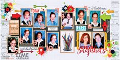 School year photos on a double page layout by Ezme Hartman using the Live & Learn collection.