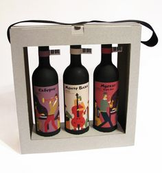 Packaging by Elena Samokhina, via Behance. Wines and carrier #packaging PD. Triple carrier