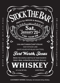 Jack Daniels Stock the Bar  Wedding Shower by RookDesignCo on Etsy, $25.00 @Sarah Chintomby Chintomby Chintomby Underwood