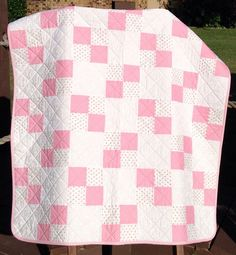 "It's A Pink, White and Tiny Rosebud Delight, 41"" X 48"" Quilt"