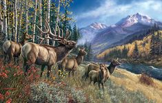 """Elk Anthem - 1000 Pieces. Finished size: 19"""" x 30"""". Artist: James Meger.Sunsout puzzles are 100% made in the USAEco-friendly soy-based inksRecycled boardsNot sold in mass-market stores"""