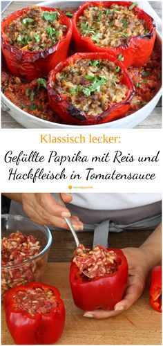 Klassisch lecker: Gefüllte Paprika mit Reis und Hackfleisch in Tomatensauce A classic that always makes it onto our plates: stuffed peppers. The dish is also great for beginners and tastes the whole f Healthy Eating Tips, Healthy Nutrition, Rice Recipes, Meat Recipes, Stuffed Peppers With Rice, Sauce Tomate, Vegetable Drinks, Food Network Recipes, Food Inspiration