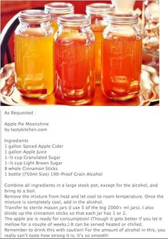 Apple Pie Moonshine Recipes With Everclear 151 Cocktail Drinks, Fun Drinks, Yummy Drinks, Alcoholic Beverages, Summer Cocktails, Cocktail Recipes, Homemade Alcohol, Homemade Liquor, Homemade Whiskey