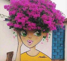 Impressive & Creative Mural Tree Hair Street Art Graffiti Ideas - Home & Garden: Inspiring Interior, Outdoor and DIY Ideas Yard Art, Urbane Kunst, Grafiti, Amazing Street Art, Unique Gardens, Street Art Graffiti, Graffiti Artists, Street Artists, Chalk Art