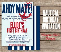 Nautical Birthday Party Invitation Digital File with FREE Gift Tag Art File