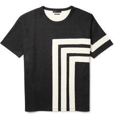 Alexander McQueen - Geometric Patterned Cotton-Jersey T-Shirt|MR PORTER