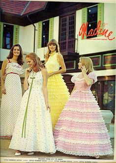 The bright yellow one WAS MY DRESS only mine was mint green. I HAD seen it in a TEEN magazine and had to have it ! Because I was tall, we had to order 4 months ahead !  My mom had made all my formals until that one. They were all so BEAUTIFUL !  THANKS MOM.....