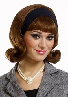 Improve your Sock Hop or Poodle Skirt Costume with this Deluxe Brown Wig with a detachable headband! Be sure to get a wig cap to control hair under the wig. It improves the wig fit for better style and enhances wig comfort. 1950s Hairstyles, Vintage Hairstyles, Wig Hairstyles, Lace Front Wigs, Lace Wigs, Headband Wigs, Rainbow Wig, 1960s Hair, Bouffant Hair