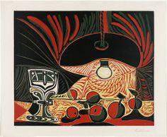 Pablo Picasso. Still Life with Glass Under the Lamp (Nature morte au verre sous la lampe). March 19, 1962