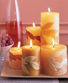 candles with leaves