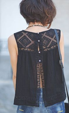 Actually pinning because her hair is CUTE! But shirt is cute too. #street #style open-back blouse @wachabuy
