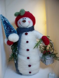 Feathered Friends Snowman Felted with Cardinal by WhimsicalWoolies, $55.00