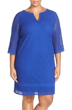 London Times 'Heather' Lace Notch Neck Tunic Dress (Plus Size) available at #Nordstrom
