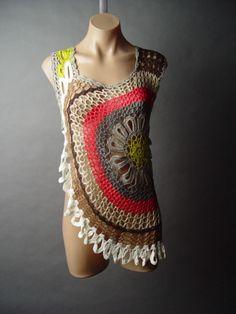 crochet doily retro 60s hippie top