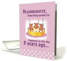 Granddaughter 3 Years Old Card 399166 So Cute Kids Birthday Cards 3rd