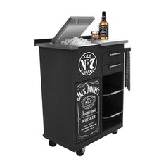 Here is a great party piece for any Jack Daniels fan: a Jack Daniels Trolley Bar!  Load up the large ice tub, grab your bottle of Jack, some friends and you have got a party.  The sturdy steel trolley bar can be easily wheeled around.  The bar also has storage and bench space for whisking up drinks.  Emblazoned on the front with the Jack Daniels bottle label and Old No. 7 Logo.