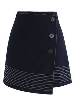 Work it Out Flap Bud Skirt in Navy - BOTTOMS - Retro, Indie and Unique Fashion