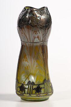 135: , Loetz Vase, Art glass and metal overlay, Flared : Lot 135