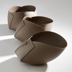 Ann van Hoey, folded ceramic vases