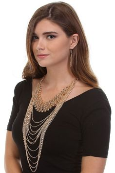 Rachel Gold Draped Necklace and Earring Set