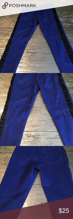 Cheap Monday Ankle Stretch Stylish stretch jeans in uniform blue with black stripe down the sides. Never been worn. Cheap Monday Jeans Skinny