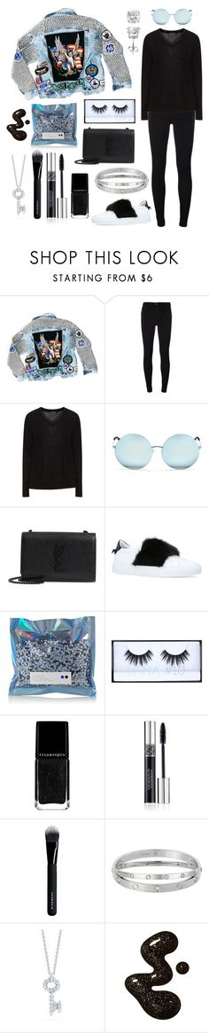 """""""pool of tears"""" by theodor44444 ❤ liked on Polyvore featuring Hazmat Design, 7 For All Mankind, Jette, Matthew Williamson, Yves Saint Laurent, Givenchy, Pat McGrath, Huda Beauty, Christian Dior and Roberto Coin"""