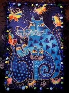 Laurel Burch cat quilt in blues.  Hasta ahora lo mejor que conozco en pinturas raras de gatitos