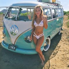 incredible VW bus, girl is OK too :) ... ♠ VW bus van # bikini # surfer girl #…