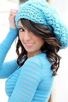 Blue Crocheted Slouch Hat Peacock Blue Crochet Teen Hats Womens Hats Chunky Crochet Hat Fall Fashion Back to School Winter Fashion Winter Hat Trendy Hat Bright Colored Hat---love love love this.  Trisha, can you make????