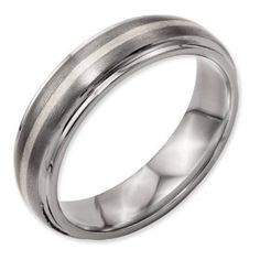 Titanium Ridged Edge Sterling Silver Inlay 6mm Brushed/Polished Band - http://finejewelrygalleria.com/jewelry/rings/titanium-ridged-edge-sterling-silver-inlay-6mm-brushedpolished-band-com/