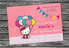 Hello Kitty Birthday Party Invitation Printable von Invites2Print, €7.50