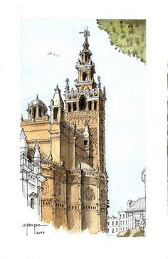 Catedral | Alfonso García | Flickr Watercolor Architecture, Watercolor Landscape, Architecture Art, Watercolor Art, Travel Sketchbook, Art Sketchbook, Building Sketch, T Art, Landscape Drawings