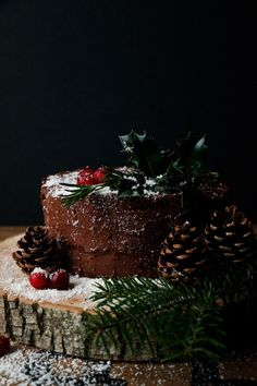Vegan Chocolate Christmas Cake (gluten-free, nut-free) Vegan, gluten-free & nut-free chocolate cake with cranberry chia jam filling and delicious sweet potato chocolate frosting. Gluten Free Xmas Cake, Vegan Xmas Cake, Gluten Free Cakes, Vegan Cake, Vegan Desserts, Vegan Sweets, Vegan Recipes, Vegan Meals, Chocolate Christmas Cake
