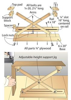 Scissor-lift support provides a third hand | See more about Hands, Locks and Magazines.