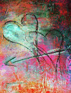 Graffiti Hearts Painting  - Graffiti Hearts Fine Art Print
