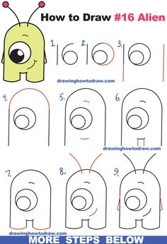 "How to Draw Cute Cartoon Alien from Numbers ""16"" Easy Step by Step Drawing Tutorial for Kids and Beginners"