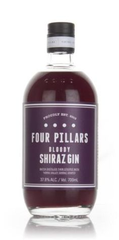 This intriguing treat is the delicious result of mixing Four Pillars Rare Dry Gin with Yarra Valley Shiraz grapes. Master Of Malt, Gin Bar, Gin Lovers, Yarra Valley, Dry Gin, Distillery, Whiskey Bottle, Perfume Bottles, Drinks