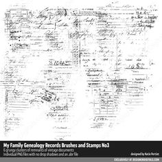 My Family Genealogy Records Brushes and Stamps No. Photograph Album, Family Genealogy, Photoshop Brushes, Marketing Materials, Occult, Blackwork, Digital Scrapbooking, Stamps, Backgrounds